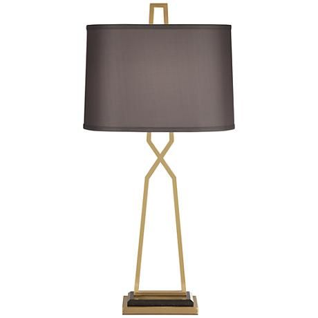A gray faux silk shade adds depth to this stunning modern metal table lamp look
