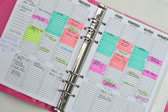 A5 Planner week on two pages printables undated : either from 6 to 22 or 8 to 24