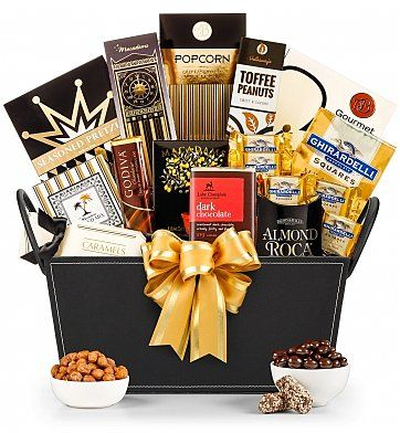 The definitive collection of luxury chocolates, cookies and candies are artfully arranged in this leather basket creating a delightfully sweet gift basket that's perfect for sending your happy holiday wishes to any part of town.: