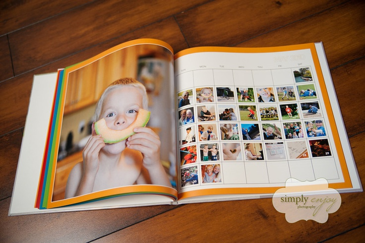 like the shutterfly book with a big pic and a calendar with the daily pics on opposite page!!!!!!