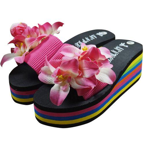 Sweet Rosette Floral Ornate Creeper EVA Flip-Flops Slippers for Woman. Starting at $6