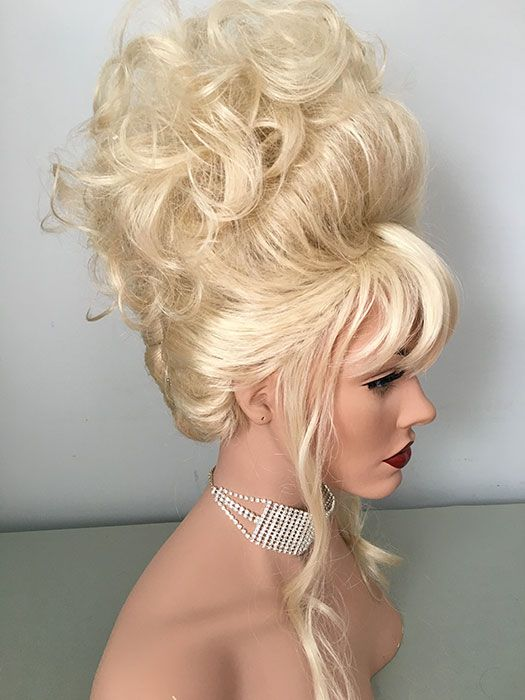 Drag, Queen, Wig, Up Do, French Twist, Curly Topper, Pale Blonde