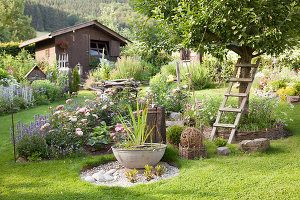 Ländlicher Garten mit blühenden Beetinseln, Schale mit Wasserpflanzen auf gekiester Fläche, im Hintergrund Gartenhäuschen – living4media
