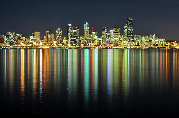 Seattle Skyline at Night | Seattle Skyline At Night Photograph by Hai Huu Thanh Nguyen - Seattle ...