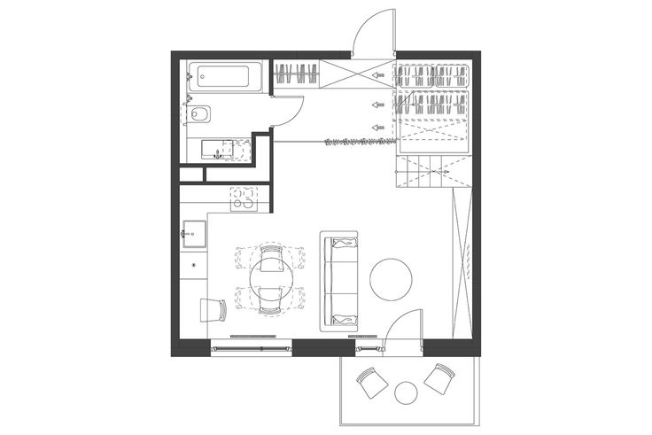 3 winzige Innenräume mit platzsparenden Hochbetten für Erwachsene