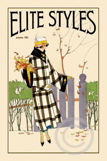 Beautiful Deco Fashion Print Elite Styles Designer Plaid Coat/Hat For Fall Autumn Leaves date of 1922 Giclee Fine Art Print 12x18
