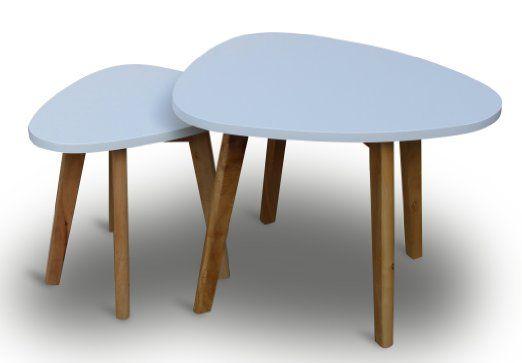 2er set couchtische wei mit holzbeinen natur retro retrolook couchtisch beistelltisch set for Weisse stuhle mit holzbeinen