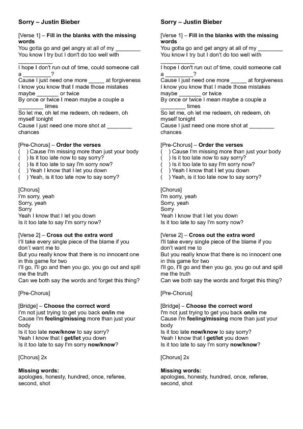 Song Worksheet: Sorry by Justin Bieber