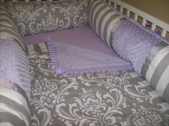 Lavender and Grey Baby Bedding for Girl 4 by babydesignsbyelm, $189.00