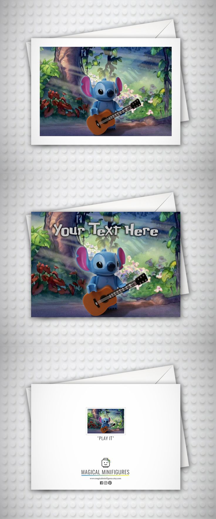 Lilo and Stitch - Disney - Lego Minifigure - Funny Birthday Card - Thank You Card - Stitch Playing Guitar