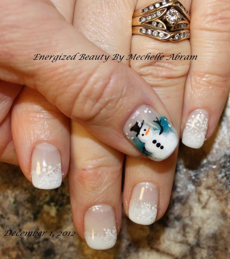 Bio Sculpture Holiday Nail Art - Snowman - By Mechelle Abram
