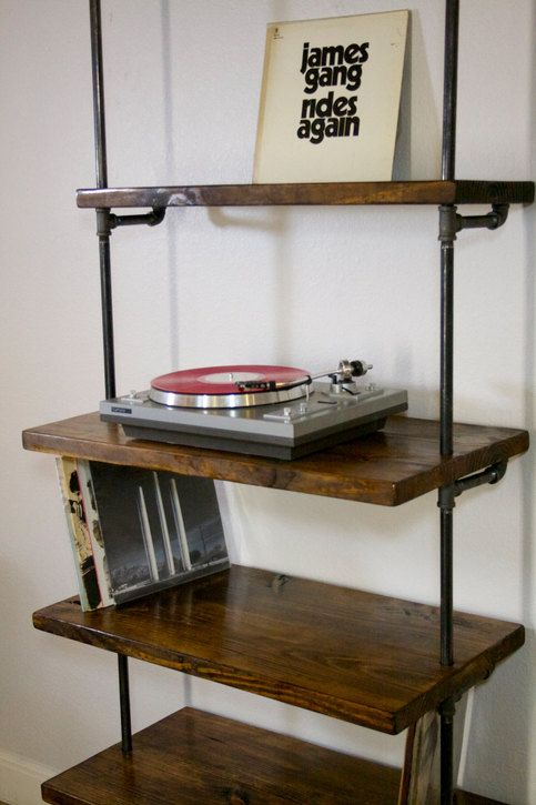 industrial record shelving unit bookcase modern record turntable rh pinterest com