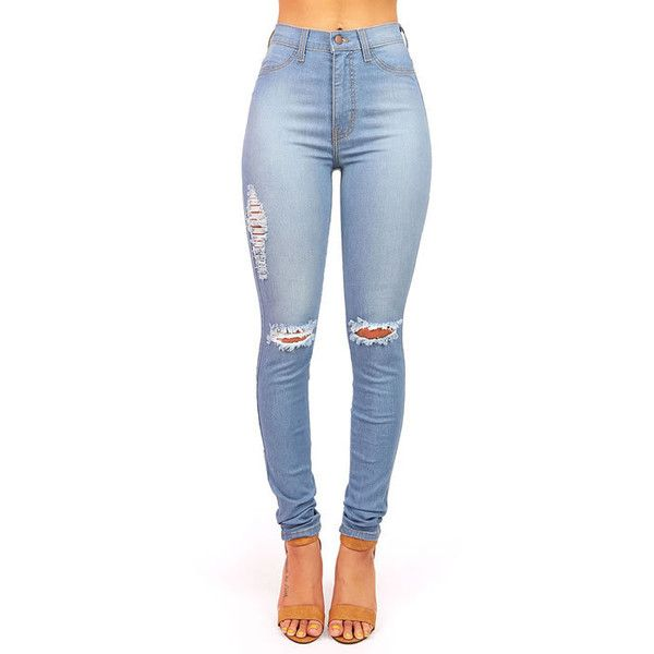 Pink Ice Bend It High Waist Skinnys ($48) ❤ liked on Polyvore featuring jeans, pants, bottoms, pantalones, pink jeans, faded skinny jeans, high waisted jeans, blue skinny jeans and light wash high waisted jeans