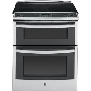 GE, Profile 6.6 cu. ft. Slide-In Double Oven Electric Range with Convection (Lower Oven) in Stainless Steel, PS950SFSS at The Home Depot - M...