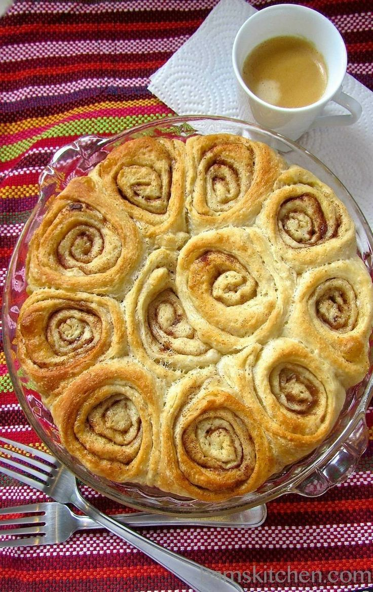 Cinnamon buns made with pizza dough
