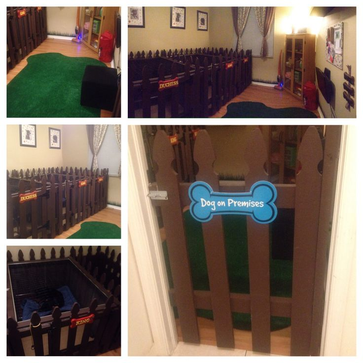 DIY Dog Room for my babies.  We built them kennels fit for each dog.  With two Rottweilers and one frengle, we wanted to give them plenty of space.  Two kennels are 4 ft W x 5 ft L and one kennel is 2 ft W x 5 ft long for my small dog.  The kennels are made of exterior fencing, for that outdoors look and lined with small gauge garden wire so the rotties don't chew the wood.  The two large kennels have top doors so the dogs don't jump up.