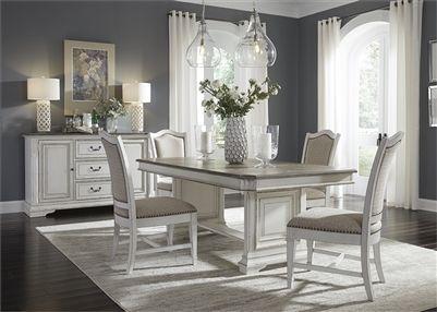 abbey park trestle table 5 piece dining set in antique white finish rh pinterest com