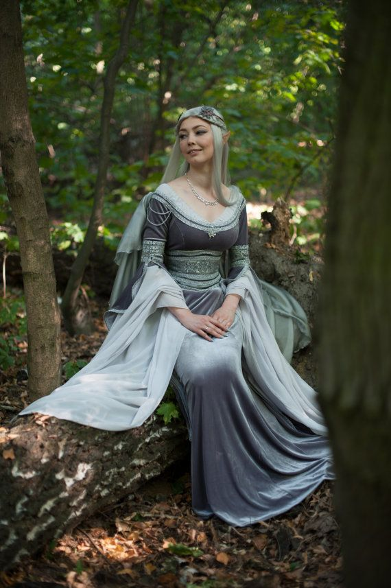 FREE SHIPPING Silver gray elven dress. Made by DressArtMystery