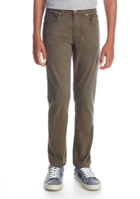 J. Khaki Boys' 5-Pocket Twill Stretch Pants - Olive Grove - 14