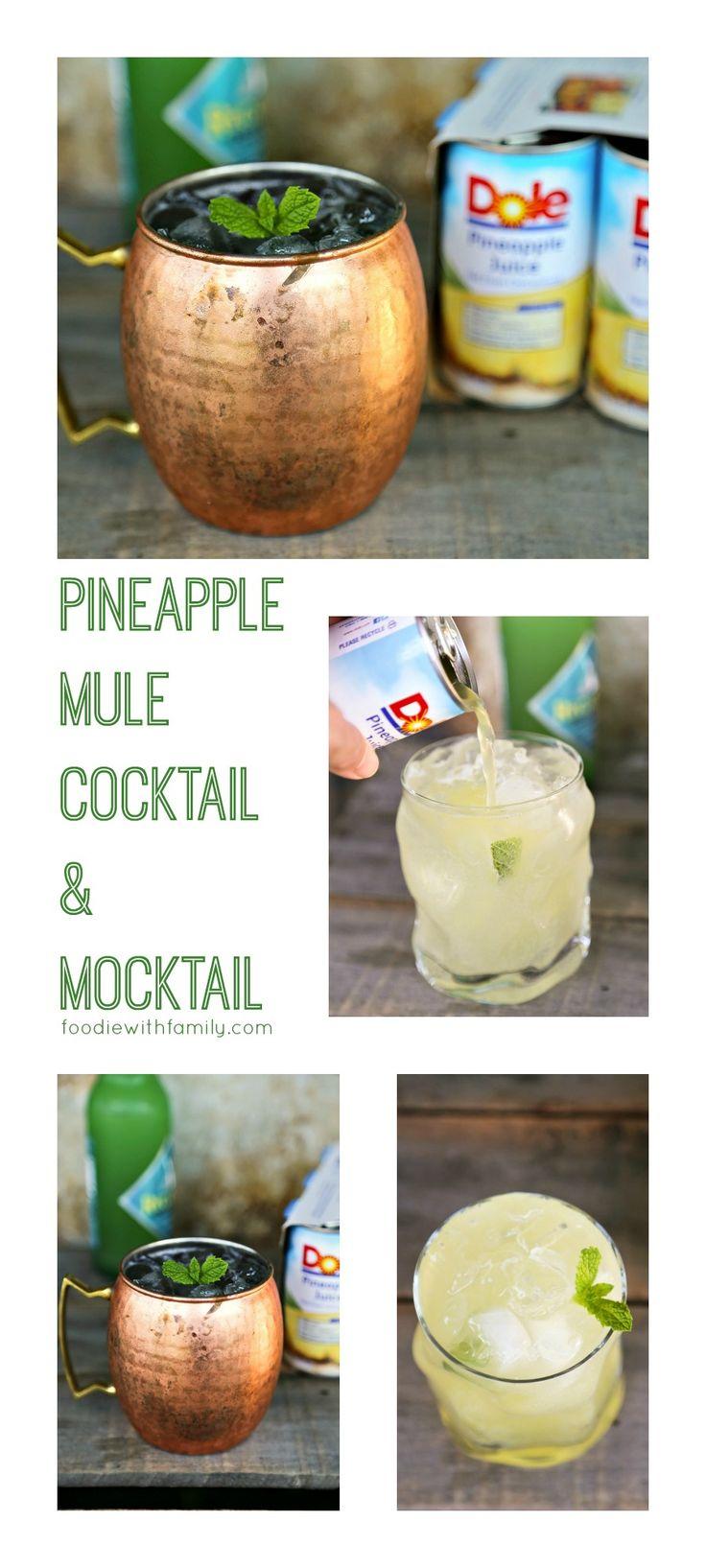 Pineapple Mule Cocktail and Mocktail to please them all #sponsored #KingofJuices