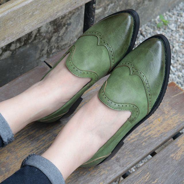 Chaude PLAT Oxford Chaussures Pour Femmes Appartements Slip-sur Richelieu Oxford…
