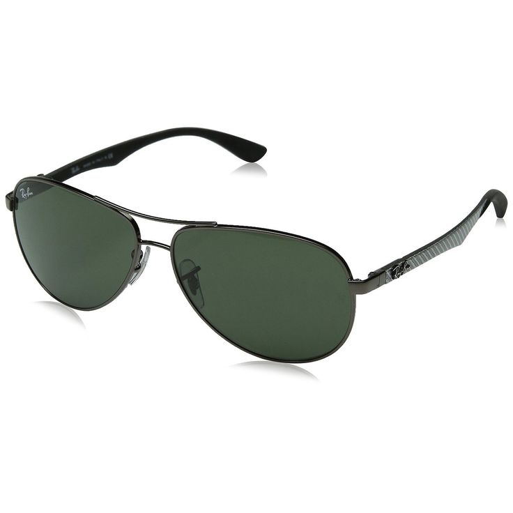 Ray-Ban RB8313 Aviator Sunglasses Gunmetal Carbon Fibre Frame Green G15 Lens
