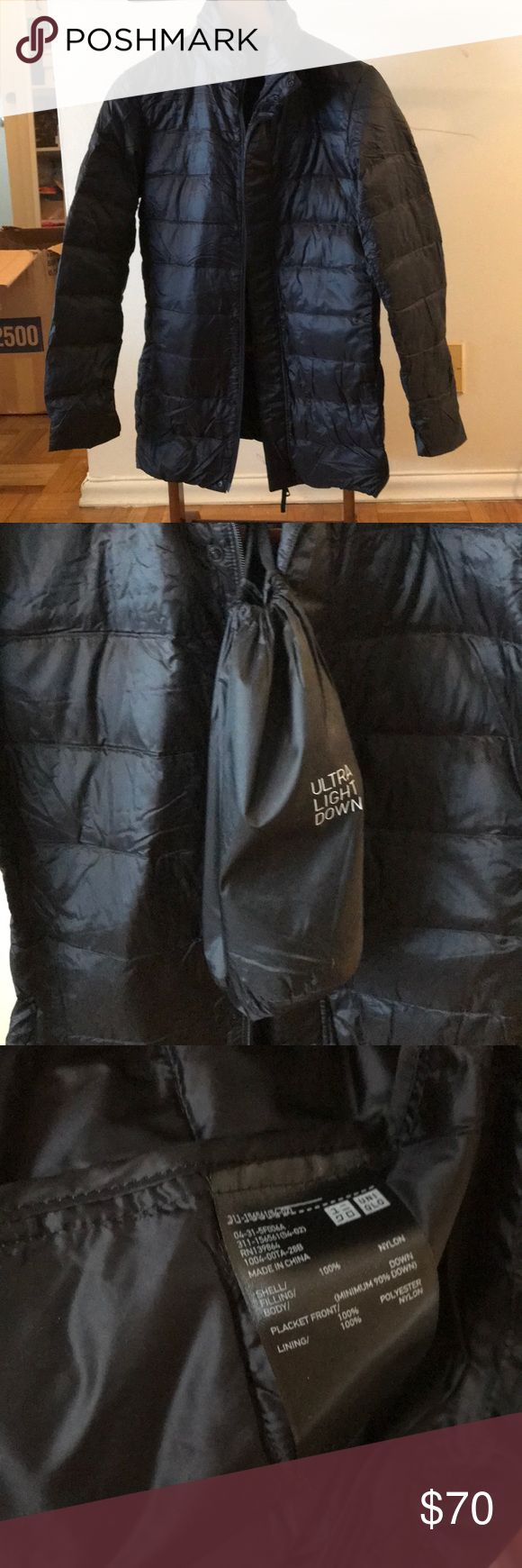 NWOT Uniqlo Black ultra light down jacket small New without tags men's size small Uniqlo ultra light down long jacket.  Also has storable hood in the color and storage bag. Tags were removed but has never been worn outside. Uniqlo Jackets & Coats Puffers