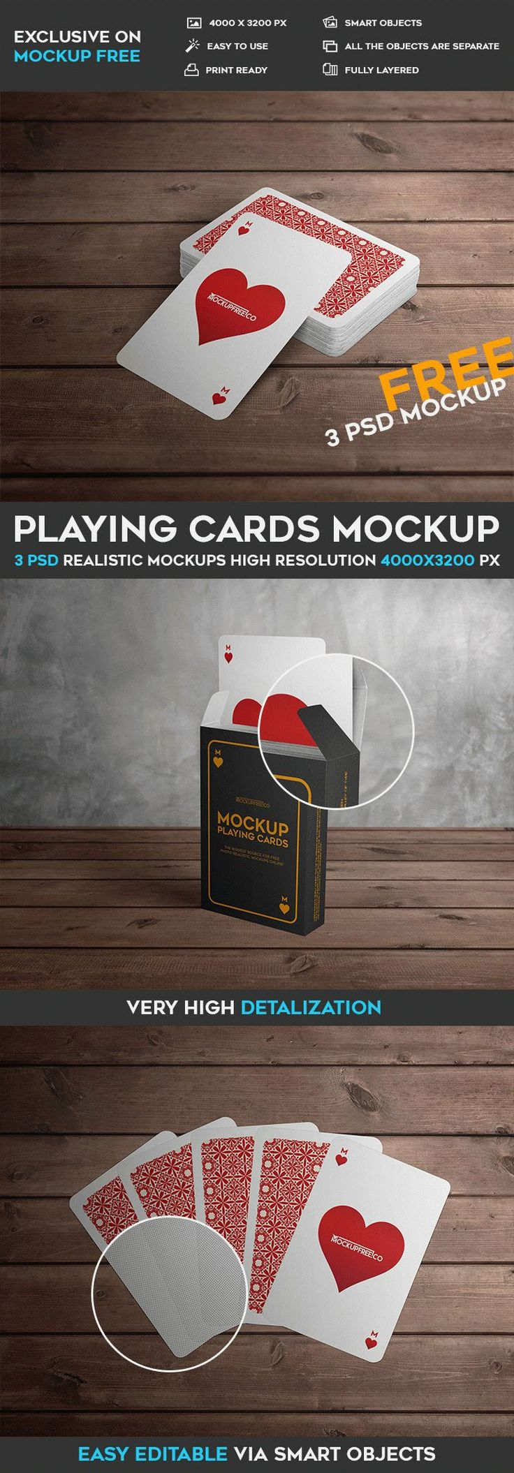 3 Free Playing Cards PSD Mockups | Free PSD Templates | #free #photoshop #mockup #psd #playing #card