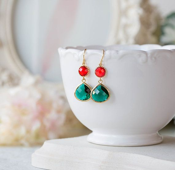 Red and Green Earrings, Christmas Earrings, Christmas Jewelry,  Ruby Red Emerald Glass Gold Dangle Earrings, Christmas Gift, Christmas Party