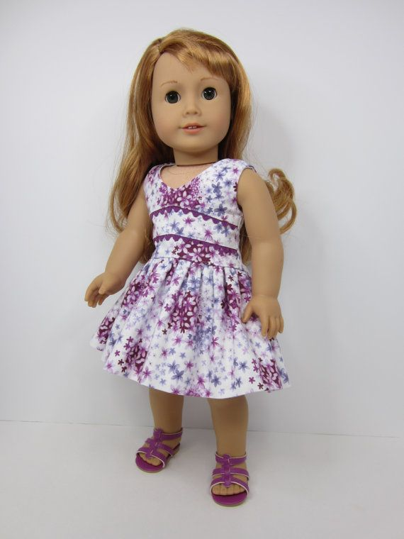 American Girl doll clothes Lilac flowered lisianthus dress by JazzyDollDuds.