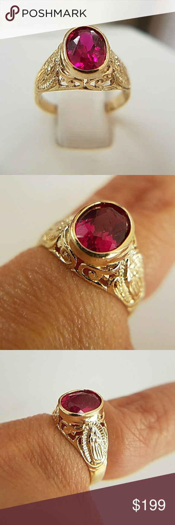 14k Solid Yellow Gold Ruby Religious Filigree Ring Dainty 14k Solid Real Yellow Gold Synthetic Ruby Filigree Engagement Promise Ring . Available in sizes 3,4,5,6,7 only Item#RG2261-2.63-0076 Jewelry Rings