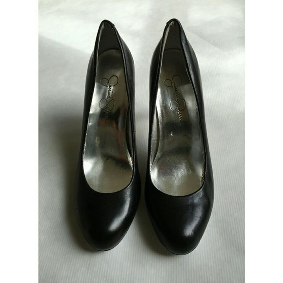 Jessica Simpson Black Pumps black round toe pumps, great condition on the outside of shoe, wear and tear on the inside pictured above, and on the bottoms, size 8 but run a little snug, narrow fit, 3 inch heel Jessica Simpson Shoes Heels