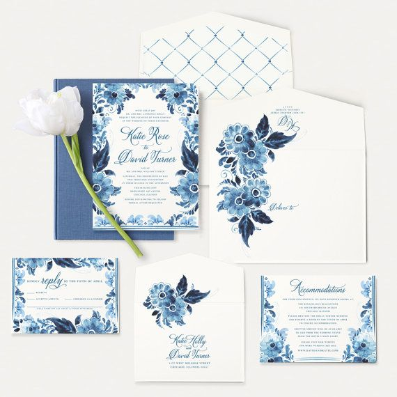Blue Watercolor Flowers Wedding Invitation China Inspired