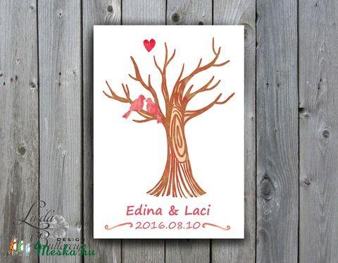 Esküvői ujjlenyomat fa kép feszített vásznon, A2, Esküvői fa, szerelmes madár pár, Emlék, Esküvői dekor, Esküvő, Esküvői dekoráció, Meghívó, ültetőkártya, köszönőajándék, Nászajándék, Meska