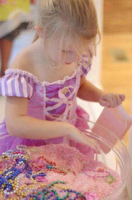 A princess-themed version of a lucky dip: dye a wholesale-sized bag of rice pink and fill with plastic jewellery, plus one tiara. Guests have to hunt for the crown jewels - but no peeking!