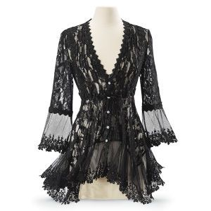 Black Lace Peplum Jacket - New Age, Spiritual Gifts, Yoga, Wicca, Gothic, Reiki, Celtic, Crystal, Tarot at Pyramid Collection