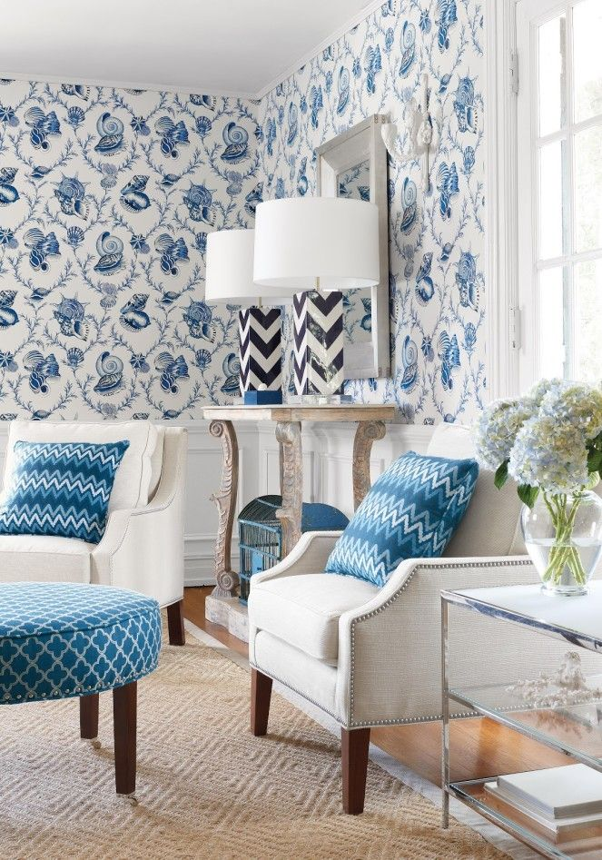 cool living room design with blue flower pattern wallpaper and white rh pinterest co uk