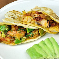 Quesadillas - Two Ways: roasted chicken and bacon or shrimp and avocado