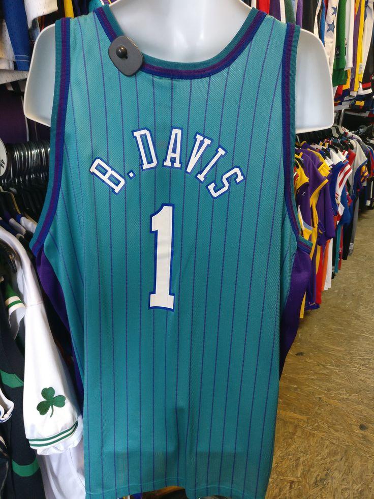 Vtg#1 BARON DAVIS Charlotte Hornets NBA Pinstripe Jersey 52(Deadstock)