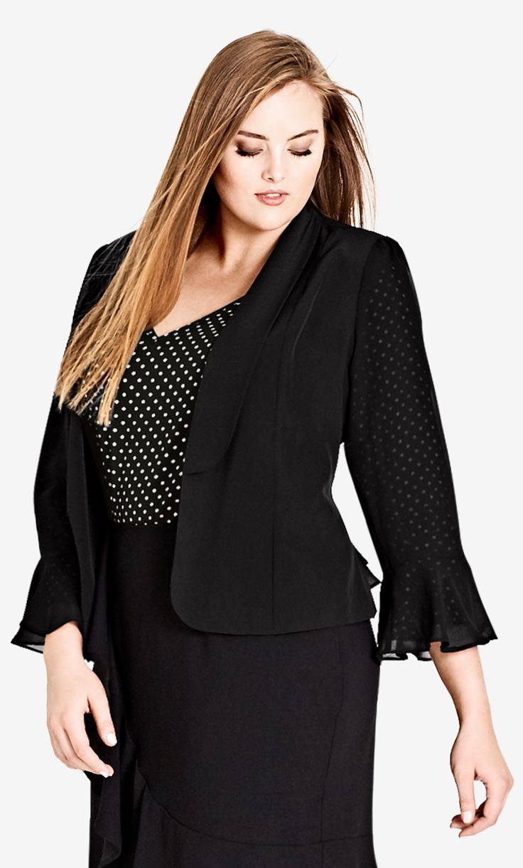 Style By Trend: Paris Date by City Chic - DRAPEY FRILL JACKET#citychic #citychiconline #curves #newarrivals #ootd #plussize #plussizefashion #psootd