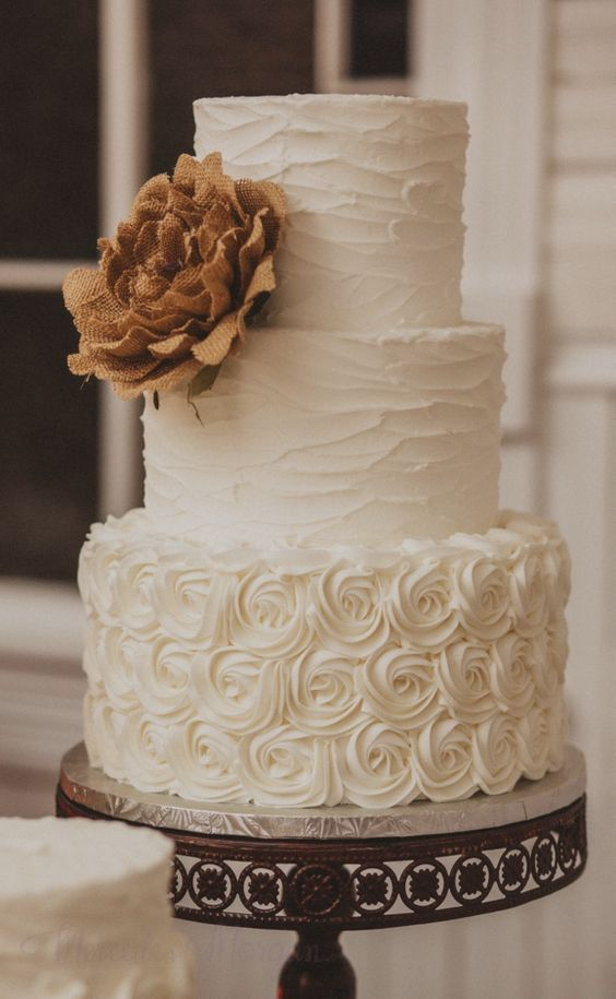three tier white textured wedding cake / http://www.deerpearlflowers.com/rustic-wedding-details-and-ideas/2/