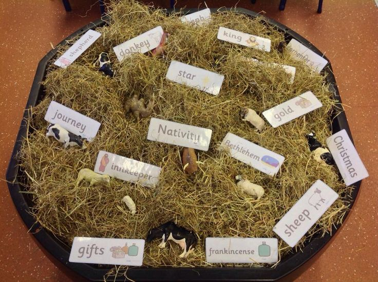 Hunting for Nativity characters in the hay. Great tuff spot activity for Early Years