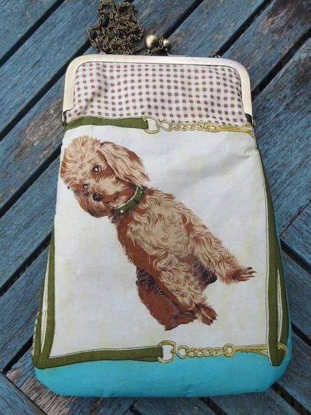 'Puppydog' This little chap is patiently waiting to be taken for a walk.  He comes on a c.1940's scarf which has been repurposed into this cross-body bag. Comes in a gift box