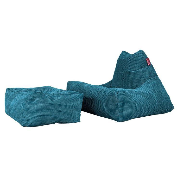 Lounge Pug Adult Bean Bag Chair UK Gaming Beanbag Pom Pom Blue – Big Bertha Original™ £80