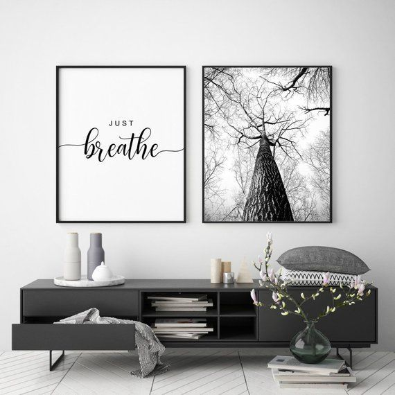 Just Breathe Printable Bedroom Wall Art Home Decor Wall Art Quote Relax Wall Art Set Of 2 Prints Yoga Quotes Bedroom Decor Yoga Art Bedroom Wall Art Wall Decor Bedroom Home