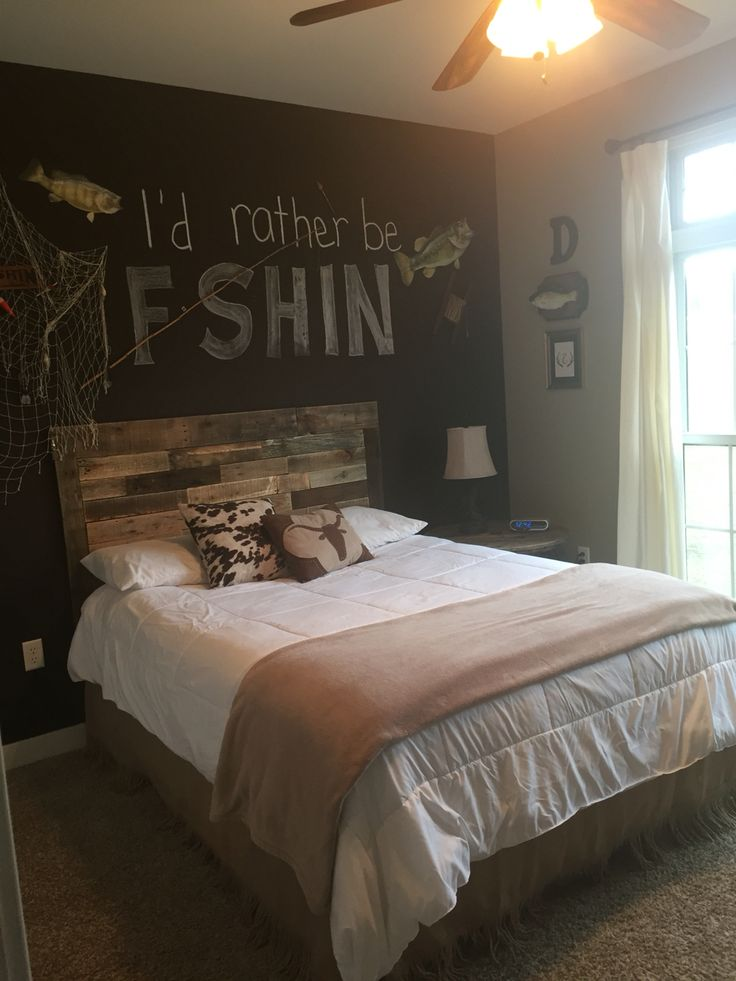 Made this pallet headboard for boys room fishing theme for 8x10 bedroom ideas