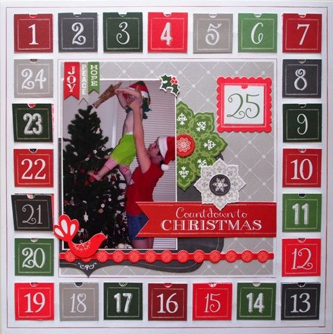 Countdown to Christmas page created with Little Yellow Bicycle, Making Merry by Teena Hopkins for My Scrappin' Shop.