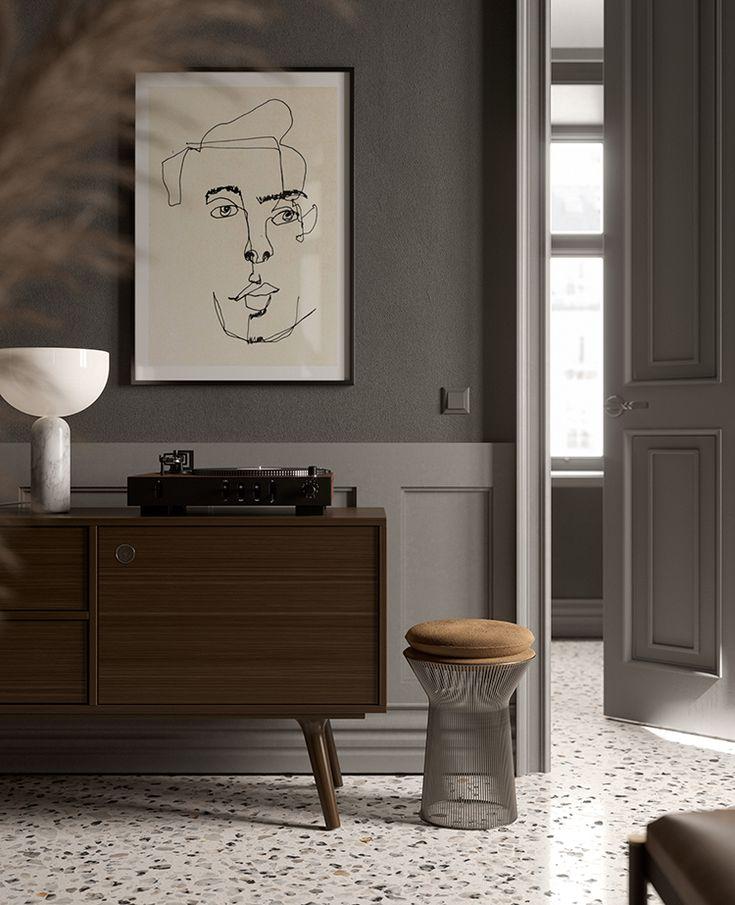 Living Room In Venice Fl: Contemporary Dark Gray Living Room With Terrazzo Floor In