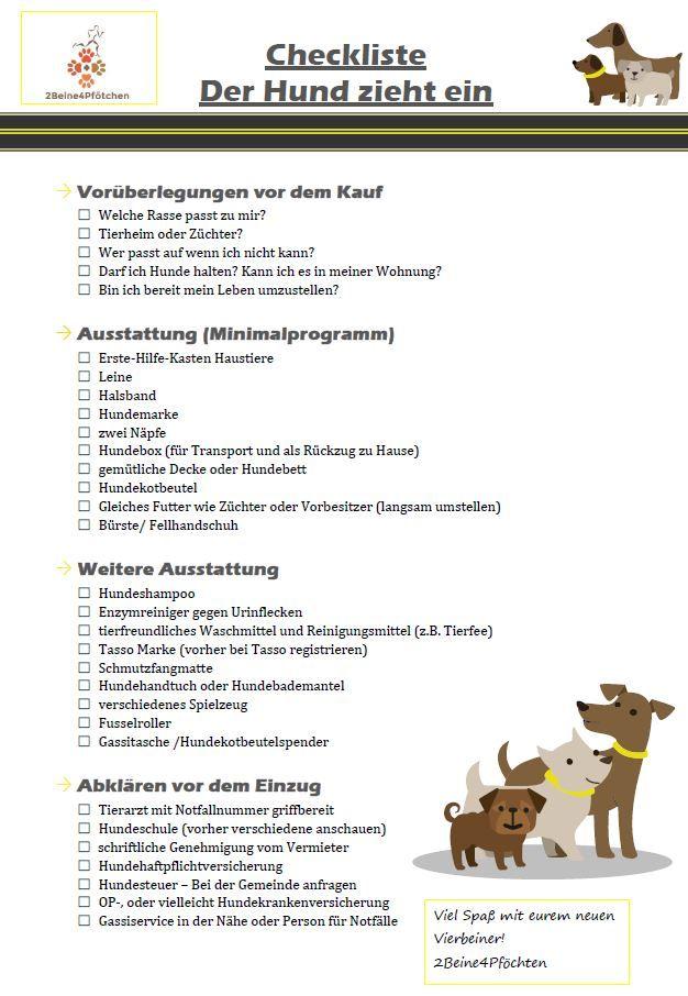 Checkliste Hund Zieht Ein Midoggy Community Hunde Checkliste Hunde Welpen Erziehung