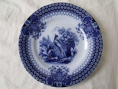 "Antique Villeroy & Boch Flow Blue 7.5"" Salad Plate India Pattern Auction Plate 1 | #442906602"